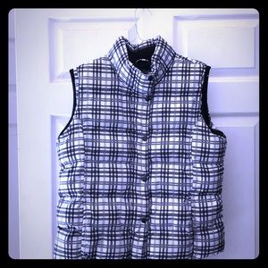 Black and white plaid puff vest size large